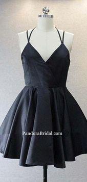 Simple Black Spaghetti Straps Short Homecoming Dresses, Freshman Homecoming Dresses, PD0586