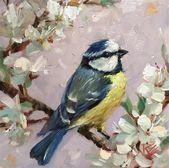 """Tägliche Malereien – """"Blaumeise"""" – Original Fine Art zu verkaufen – © Krista Eaton"""
