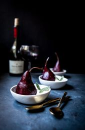 Spiced Wine Poached Pears with Maple Bourbon Mascarpone Whipped Cream – What d…