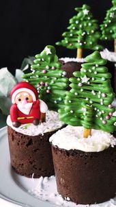Muffins de chocolate de árbol de navidad   – A Little Something Sweet