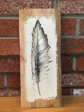 Feather Palette Painting, Distressed Wood Art, Pallet Art