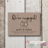 Engagement Party Invitation, Printable Engagement Invitation, Kraft Paper Engagement Party Invite, Printed Engagement Announcement Card