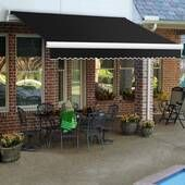 Motorized 13 Ft W X 8 Ft D Fabric Retractable Standard Patio Awning Backyard Patio Designs Awning Patio