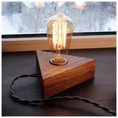Wooden lamp Edison bulbs with dimmer for smooth brightness control.Solid Wood Lamp,Retro Lamp,Night Lamp,Edison Bulb