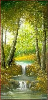 Waterfall In The Wood By Luciano Torsi Waterfall Waterfall Wood Oil Painting Pictures