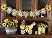 Sonnenblume Sackleinen, gelb, schwarz, Banner, Willkommen, Baby-Dusche, Brautdusche, wir …