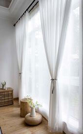 Moderne Gardinen Weiß aus Chiffon für Wohnzimmer…
