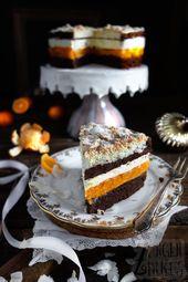 Dieser Kokos-Makronen-Kuchen ist fruchtig, cremig und lecker. Die Schokoladenböden …   – Rezepte Kuchen
