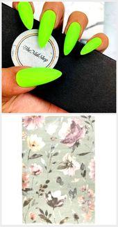 Neongrün Drücken Sie auf die Nägel | Grüne Nägel | Neonnägel | Urlaubsnäg…