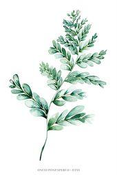 Botanische Wandkunst des Farndruckes, Geschenk für sie, Farnillustration im grünen Aquarell…