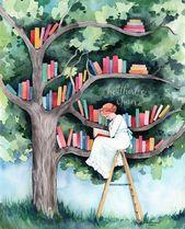 El lector y la biblioteca del árbol – Impresión de arte de acuarela
