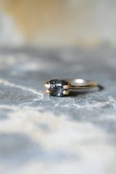 Black Diamond in 14K Yellow Gold Fill, Black and Gold Statement Ring, Unique Engagement Proposal Ring, Large Raw Diamond in Prong Setting, 6   – R I N G S