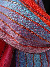 Rainbow Riff Tencel Scarf /Red Weft / Handwoven