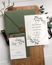 Grün und Gold Hochzeiteinladung, Rustikale und Grünanlagen Hochzeiteinladung, Botanische Einladung