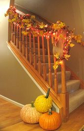 30 Amazing Fall Staircase Décor Ideas : 30 Fall Staircase Décor With Brown Wal…