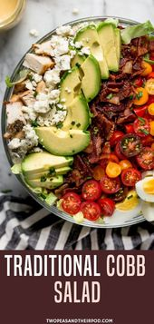 Pretty, fresh, and delicious Cobb Salad With Chicken, Bacon, Tomatoes, Hard Boil…