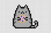Pusheen mit Donut Pixel Art