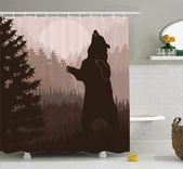 Avers Wild Bear Night Jungle Duschvorhang   – craft