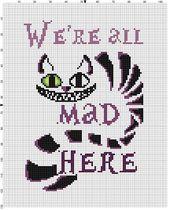 Wir sind alle verrückt hier – Alice im Wunderland Cheshire Cat Cross Stitch Pattern – sofort-Download