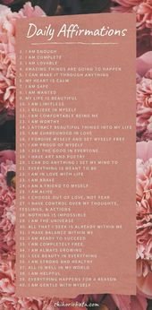 50 Day by day Optimistic Affirmations Checklist