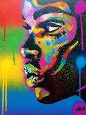 African Girl face portray kiss 2 sequence stencil artwork spray paint artwork canvas magnificence road artwork handmade fashionable graffiti house pop artwork,rainbow