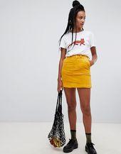 b3879fc61 Yellow Leather-Look Mini Skirt | New Look | Tesis - Nueva Vida in 2019 | Yellow  skirt outfits, Yellow denim skirt, Denim skirt outfits