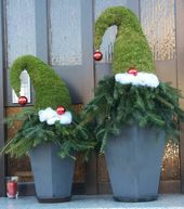 Gnomes made with moss and Christmas tree trimmings…