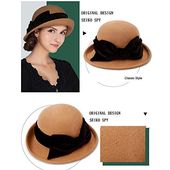 F fadves women wool felt hat bowknot bowler cap retro wide brim church hats – Products