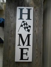 Home with Checkered Flag Wood Sign Home checkered …