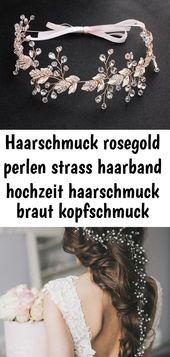 Haarschmuck rosegold perlen strass haarband hochzeit haarschmuck braut kopfschmuck hochzeit haarba 5