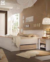 Gemütliches Schlafzimmer in weiß und beige. #far…