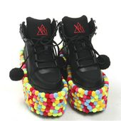 New hair ball thick-soled shoes high help sponge cake strap casual shoes from Harajuku fashion
