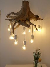 Items similar to oak root ceiling lamp with 13 filament led lights on etsy