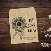 Items similar to Sunflower Seed Packets, Let Love Grow, Personalized Favor, Custom Seed Packets, Rustic Wedding, Seed, Custom Favor, Seed Favor x 25 on Etsy
