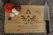 Personalized The Legend of Zelda Triforce Emblem Cutting Chopping Board w/ Hyrule Font for Him or Her Man Cave Geek Gamer Lover 17″ x 11″