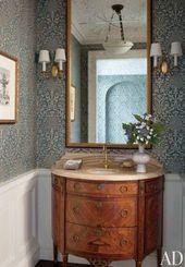 40 Möglichkeiten, mit antiken Möbeln im Badezimmer zu dekorieren