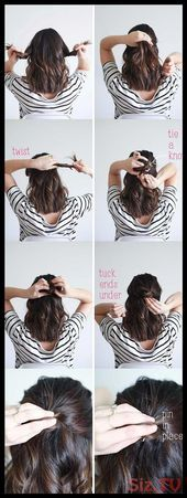 Beste 5-Minuten-Frisuren Quick Half Up Hair Tutorial für die Schule Quick And Easy H
