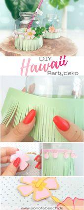 Partydeko aus Papier – Hawaii Gläser   ella mattsson – Gartenparty – Inspiration, Deko und DIY's