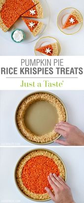 Pumpkin Pie Rice Krispies Treats recipe via justataste.com | A quick and easy ho…