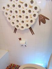 Set: Wall shelf for storing toilet paper rolls and toilet roll holder. Funny wall stickers Sheep and lamb from different types of veneers