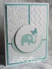 Baby Cards Patterned Occasions _Baby Butterly  pool party ink and paper. stamp is embossed ...