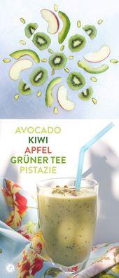 Smoothie Montag   Avocado Kiwi Apfel Grüner Tee Smoothie #Essen #Smoothie …   – Basische Rezepte