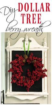 diy Dollar Tree embroidery hoop berry wreath