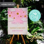 Baby Showers Twinkle EDITABLE Twinkle twinkle Little Star gold, girl Baby Shower, Welcome sign, Print...