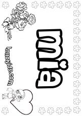 Mia Girls Names Coloring Page Name Coloring Pages Coloring Pages For Girls Printed Pages