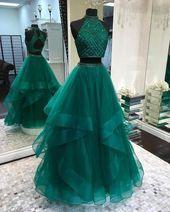 Sexy Zwei Stücke Smaragdgrün Open Back Abendkleider, Günstige Custom Sweet 16 Kleider, 18488