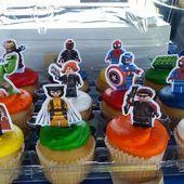 Druckbare Lego Avengers Cupcake Toppers – Download anpassen drucken – Lego Avengers Cake Toppers – Lego Avengers Geburtstagsdekoration   – Mikey Avenger Cupcakes