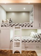 The modern bedroom is furnished with white bunk beds and has a … – Home accessories blog – New Ideas