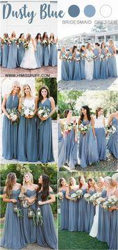 20 Dusty Blue Bridesmaid Dresses You'll Love – HOCHZEIT | Blau, Grau und Weiß