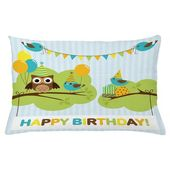 East Urban Home Ambesonne Birthday Party Throw Pillow Cushion Cover, Cartoon Owl Bird Tree Branch With Flags Striped Backdrop Celebration Image, Decor
